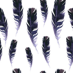 Seamless wild pattern. Background with feathers on white background. Natural watercolor pattern. Boho style.