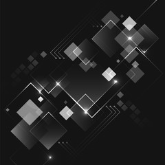 Abstract dark vector futuristic business technology background with square pattern.