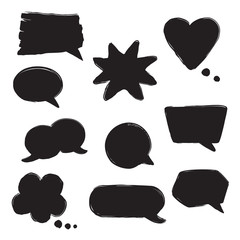 Black ink hand drawn speech bubbles vector set.