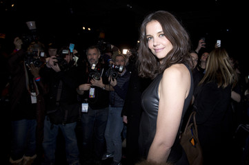 Actress Katie Holmes arrives for the Donna Karan New York show during New York Fashion Week