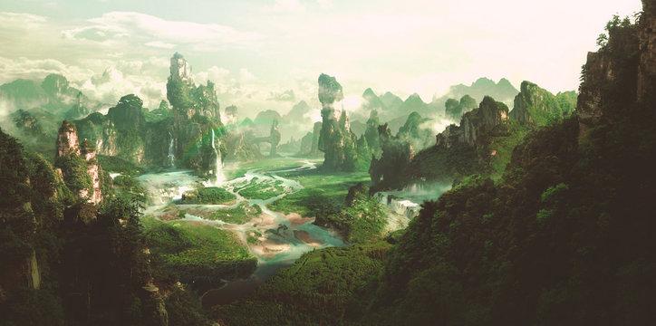Fantasy natural environment, 3D rendering.