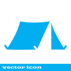 Tourist tent. Single icon. Vector illustration
