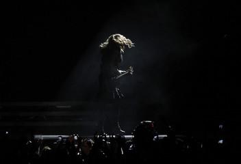 U.S pop singer Madonna performs during the opening concert of her MDNA world tour at Ramat Gan stadium near Tel Aviv