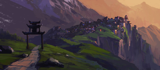 City states with Chinese characteristics, digital painting.