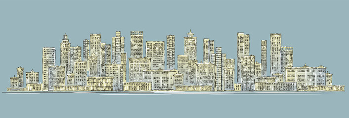 City skyline background. Hand drawn vector