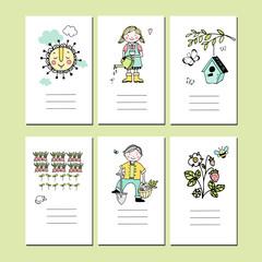 Set of cards with spring garden motives, hand drawn vector illustration