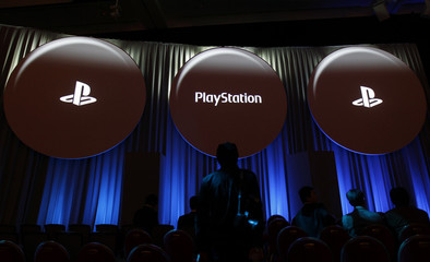 Sony Corp's PlayStation logos are displayed at the company's strategy briefing event in Tokyo