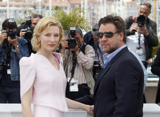 "Cast members Blanchett and Crowe pose during a photocall for the film ""Robin Hood"" at the 63rd Cannes Film Festival"