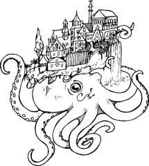Illustration of an octopus with an old city. Black and white drawing.