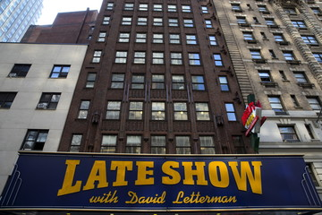 """View of the marquee displaying the logo of """"The Late Show"""" with David Letterman on the outside of the Ed Sullivan Theater in New York"""