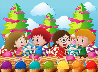 Kids dancing in the candyland