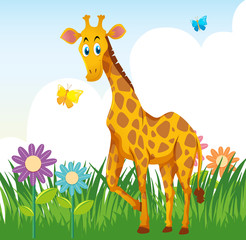 Giraffe in flower garden