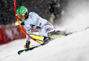 Strasser of Germany competes in men's Alpine Skiing World Cup night slalom in Schaldming