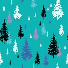Fir-trees white, black, pink and blue isolated on light turquoise background, seamless vector pattern