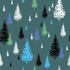 Fir-trees white, black and blue isolated on green-gray background, seamless vector pattern
