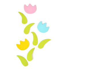 Tulips paper cut on white background - isolated
