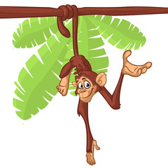 Cute Monkey Chimpanzee Hanging  On Wood Branch Flat Bright Color Simplified Vector Illustration In Fun Cartoon Style Design