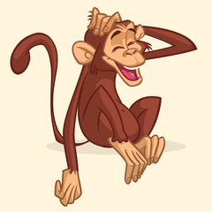 Cute cartoon drawing of a monkey sitting. Vector illustration of chimpanzee stretching his head and smiling with eyes closed. Isolated on white
