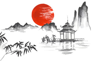 Wall Mural - Japan Traditional japanese painting Sumi-e art Sun Mountain Temple Bamboo