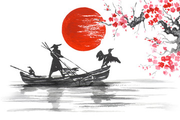 Japan Traditional japanese painting Sumi-e art Japan Traditional japanese painting Sumi-e art Man with boat Wall mural