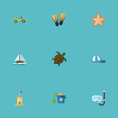 Flat Castle, Tortoise, Sailboard And Other Vector Elements. Set Of Sunlight Flat Symbols Also Includes Animal, Mask, Ship Objects.