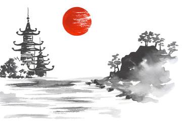 Fototapete - Japan Traditional japanese painting Sumi-e art Sun Lake Hill Mountain Temple