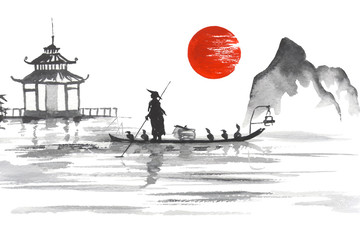 Wall Mural - Japan Traditional japanese painting Sumi-e art Japan Traditional japanese painting Sumi-e art Man with boat