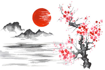 Japan Traditional japanese painting Sumi-e art Sun Mountain Sakura Lake