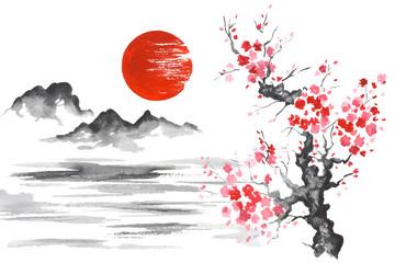Wall Mural - Japan Traditional japanese painting Sumi-e art Sun Mountain Sakura Lake