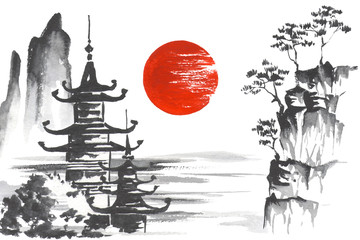Wall Mural - Japan Traditional japanese painting Sumi-e art Mountain Temple Sun Lake