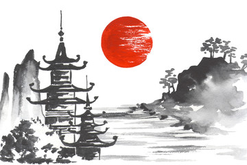 Fototapete - Japan Traditional japanese painting Sumi-e art Mountain Temple Sun Lake