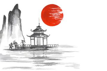 Fototapete - Japan Traditional japanese painting Sumi-e art Sun Lake