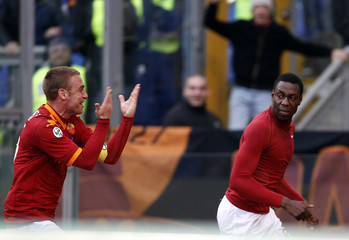 AS Roma's Okaka celebrates after scoring against Siena during their Italian Serie A soccer match in Rome
