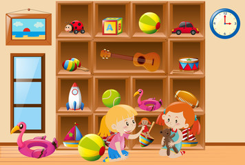 Girls playing with toys in room