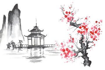 Japan Traditional japanese painting Sumi-e art Sakura Temple