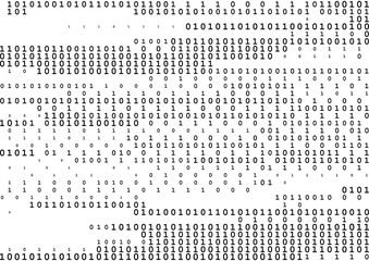 Stream line binary code black and white background with two binary digits, 0 and 1 isolated on a white background.