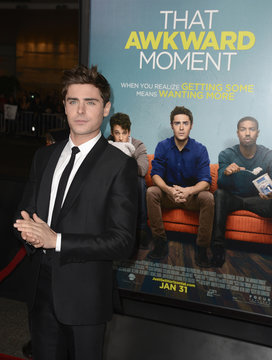 """Zac Efron attends premiere of film """"That Awkward Moment"""" in Los Angeles"""