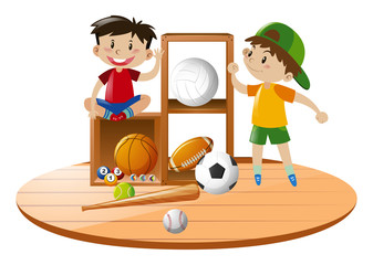 Boys and sport equipments