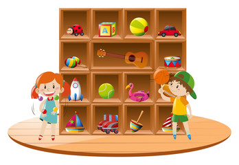 Boy and girl playing with toys in room