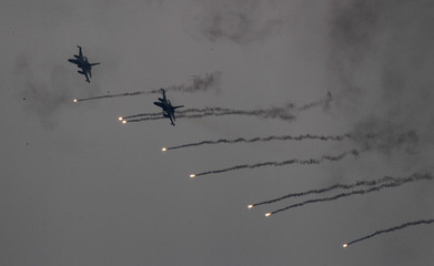 Taiwan Air Force IDF jets take part in a joint military drill at an air force base in Taichung