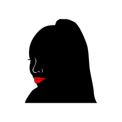 African black woman. avatar female head. silhouette of woman with red lips and tail