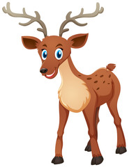 Cute deer standing on white background