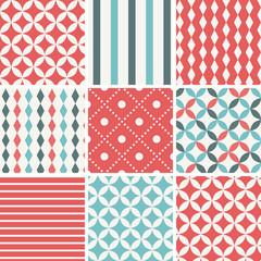9 Abstract Vintage Geometric Seamless Patterns. Retro Vector Illustration