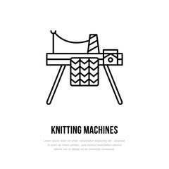 Knit shop line logo. Yarn store flat sign, illustration of knitting machine with yarn pattern.