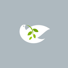 Peace dove with olive branch on gray background. Vector logo mark template or icon