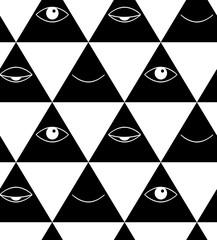 Pattern with eyes and lips. Open and closed eyes in triangle.