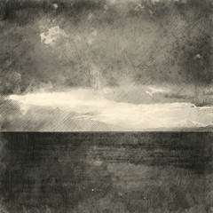 Italian landscape. Black and white sea and sky. Watercolor. Oil painting style.