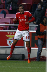 Benfica's Rodrigo celebrates his goal against Maritimo during their Portuguese Premier League soccer match at Luz stadium in Lisbon
