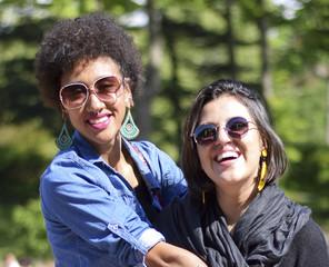 Beautiful Brazilian women tourists outside