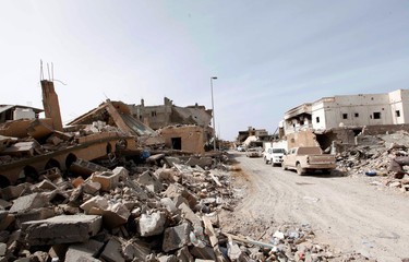 View shows destroyed houses in Cambo area which Libyan forces allied with the U.N.-backed government captured from Islamic State militants on Sunday, in Sirte